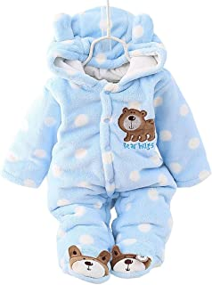 Happy Cherry Baby Toddler Winter Thicken Rompers Button Open Foot Cover Outwear Jacket Beige for 9-12M