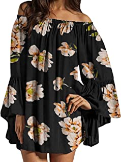 ZANZEA Donna Abito Corto Pizzo Maniche Lunghe Senza Spalle Vestito Donna in Chiffon Elegante Casual Moda Camicia Lunga Pri...