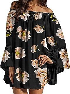 ZANZEA Vestido Corto Verano con Hombros Descubiertos Estampado Floral Mini Abito da Spiaggia Taglia Larga 07-immagine1 XXL