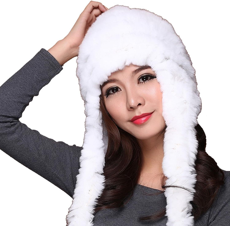 Mingxin womens rabbit fur long ear claps hat winter trapper hunter style cap