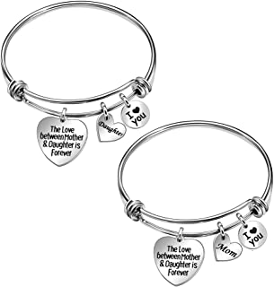 Stainless Steel Mother Daughter Bangle Adjustable Heart Charm Bracelet Jewelry Gift for Mom