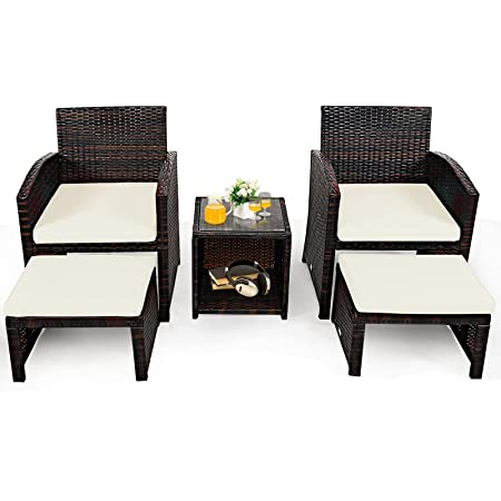 Patio, Lawn & Garden Patio Couch with Cushion and Glass Table Blue ...