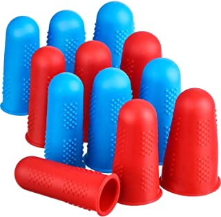 (Blue and Red) - Frienda 12 Pieces Hot Glue Gun Finger Caps Silicone Finger Protectors for Hot Glue Wax Rosin Resin Honey ...