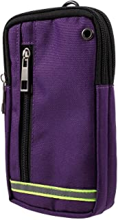 DFV mobile - Multipurpose Reflective Universal Belt Case with 3 Compartments for for VKWORLD K1 (2018) - PURPLE (17 x 10 cm)