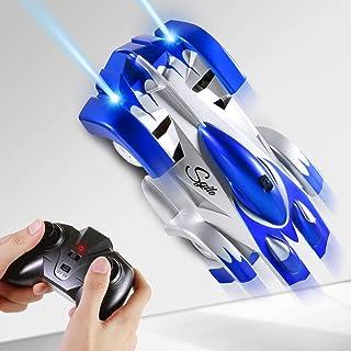 SGILE 4WD Coche Teledirigido, RC Coche con 360 Rotation Climber, dos modos de Pared / Piso y 4 luces LED, Juguetes para niños, Azul