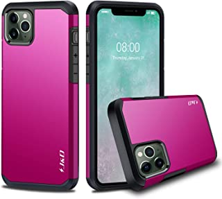 J&D Case Compatible for iPhone 11 Pro Case, Heavy Duty [Dual Layer] Hybrid Shock Proof Protective Rugged Bumper Case for iPhone 11 Pro Case - [Not for iPhone 11/iPhone 11 Pro Max] - FuchsiaPink