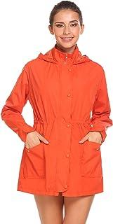 Beyove Women's Waterproof Zip Up Hooded Lightweight Windbreaker Outdoor Anorak Jacket Raincoat