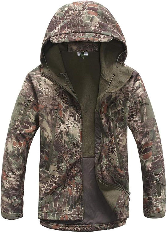 Camouflage Military Tactical Jacket Soft Shell Waterproof Hunt Jacket Raincoat,Green Python,XXXL