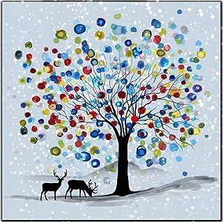 XIANRENGE Peinture À l'huile Peinte À La Main sur Toile,Abstrait Coloré Arbre Et Cerf Animal sur Toile Peinture Impression...