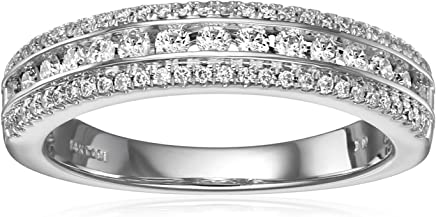 14k White Gold Diamond 3-Row Channel and Prong Anniversary Ring (1/2cttw, H-I Color, I1-I2 Clarity)