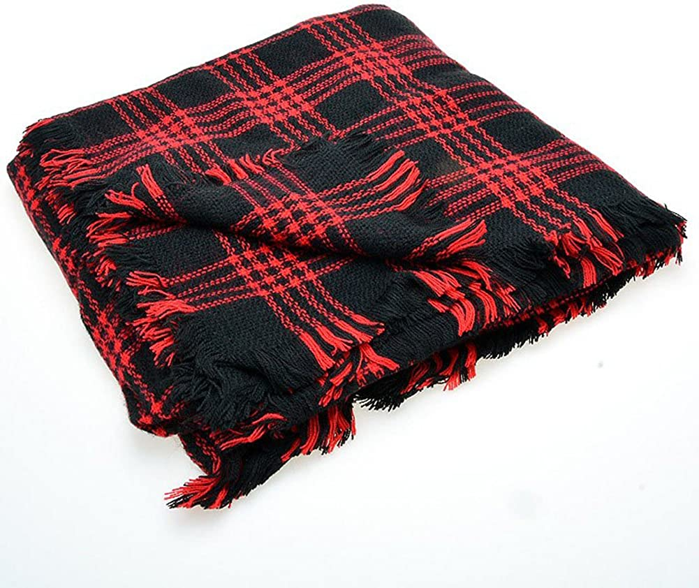 DELEY Retro Weiches Plaid Tartan Herbst Winter Schals Oversized Lange Stola Wrap Deckenschal Rot