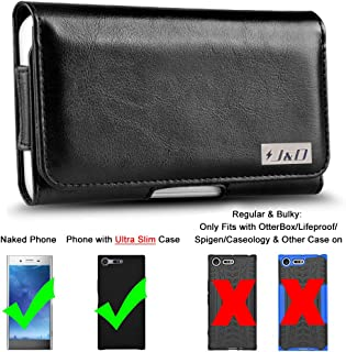 J&D Holster Compatible for Sony Xperia XZ4 Holster/Sony Xperia XZ Premium Holster with Belt Clip, PU Leather Pouch Case and Leather Wallet Case (Fit with Naked Phone or Slim Case On) - Black