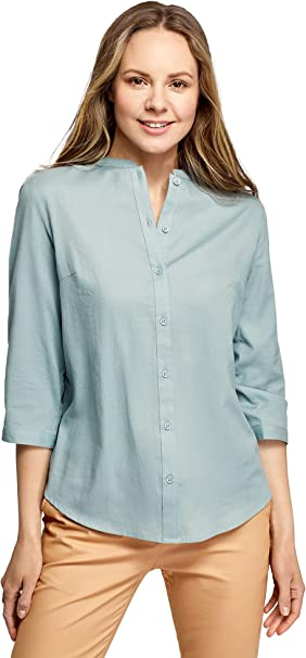 oodji Collection Mujer Camisa de Algodón con Cuello Mao
