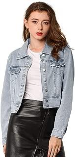 Allegra K Women's Casual Button Down Basic Jean Denim Jacket