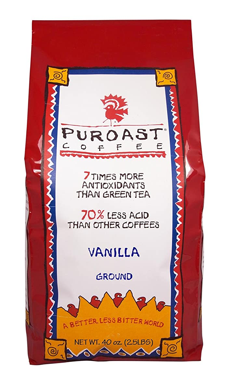 Puroast Low Acid Coffee Vanilla Flavored Coffee Drip Grind, 2.5-Pound Bag