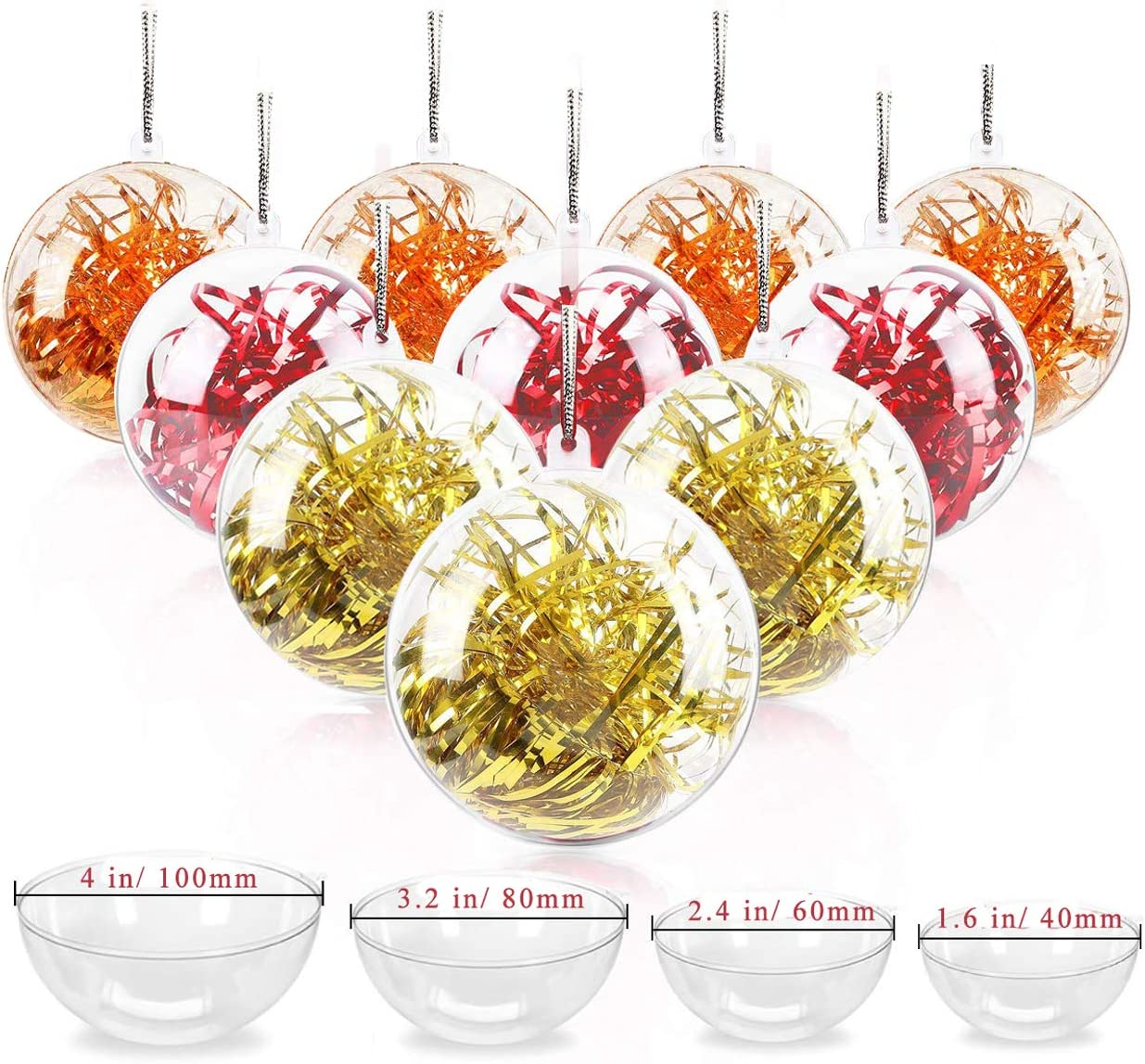 Jangostor 20 Pack Clear Ornaments Balls, 40, 60, 80, 100mm Christmas Ornaments Ball to Fill, DIY Plastic Fillable Christmas Decorations Tree Balls Baubles Craft Transparent Ball