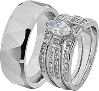 His & Hers Wedding Ring Sets Stainless Steel Marquise CZ Triangle Faceted Tungsten Men GF