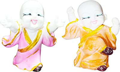 GW Creations Pieces/lot Small Buddha Statue Monk,Resin Figurine Crafts Home Decorative