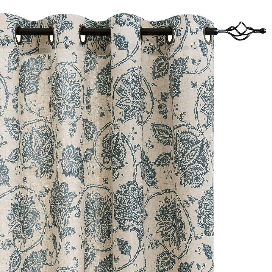Paisley Scroll Printed Linen Curtains, Grommet Top - Medallion Design Jacobean Floral Printed Curtains Burlap Vintage Living Room Window Treatment Set (Teal, 84 inch Long, 2 Panels)
