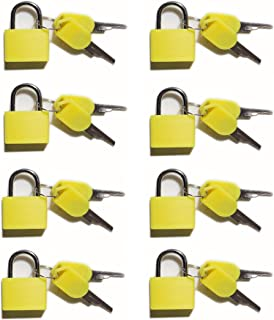 Padlock, (8 Pack) Small Padlock with Key for The Luggage Lock, Backpack,Gym Locker Lock,Suitcase Lock,Classroom Matching Game and More, Yellow