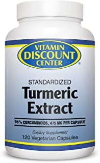 Vitamin Discount Center Turmeric Extract, 95% Curcuminoids, 475 mg per Capsule, 120 Vegetarian Capsules