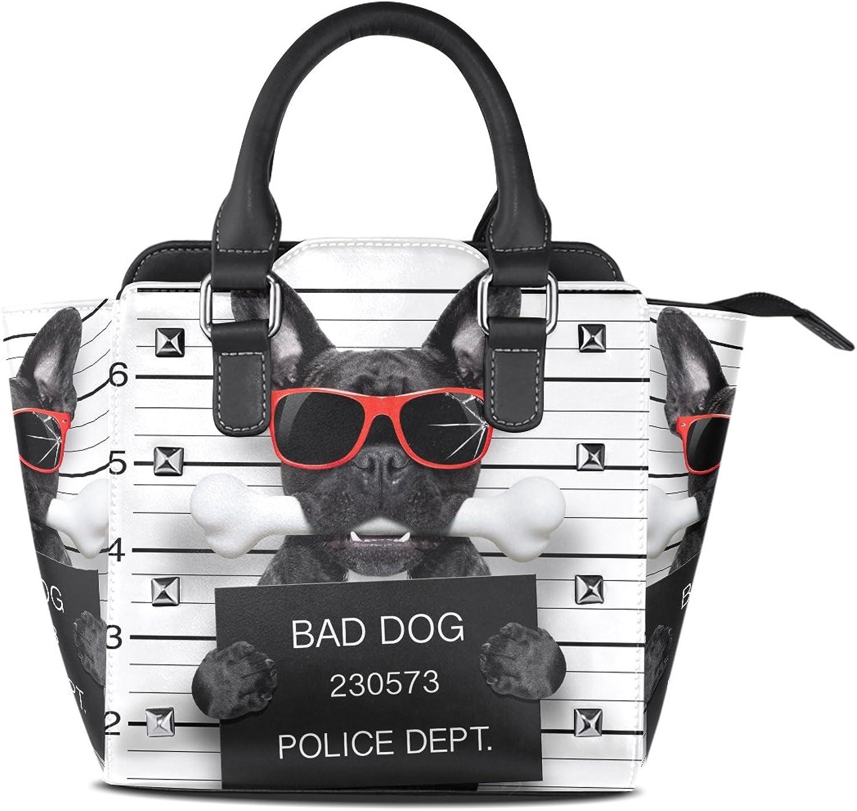 My Little Nest Women's Top Handle Satchel Handbag French Bulldog Funny Bad Ladies PU Leather Shoulder Bag Crossbody Bag