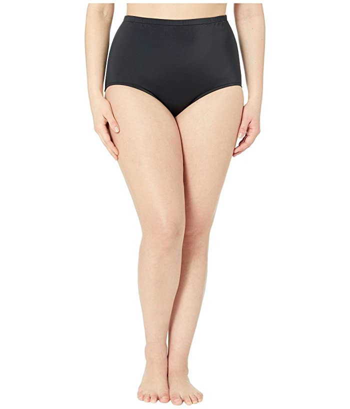 Maxine of Hollywood Swimwear Plus Size Solids Separate High-Waist Pant Bottoms (Black) Women