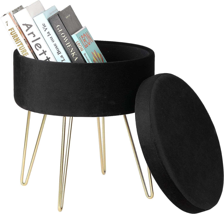 iVilla Velvet Storage Footrest Stool Modern Round ☆最安値に挑戦 Seat お求めやすく価格改定 Luxe Vel
