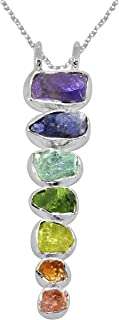 YoTreasure Chakra Healing Gemstone Solid 925 Sterling Silver Chain Pendant Jewelry