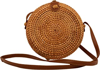 Blinst Rattan Bags for Women, Handwoven Crossbody Round Rattan Bag, Boho Bali Rattan Bag with Leather Straps