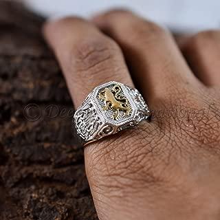 Lion Of Judah Two Tone Ring Ethiopion Signet Ring Lio Ring Signet Ring man Unique Men's Gift Ring 925 Sterling Silver Jewelry Artisan Ring