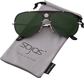 c559bfb8c3 SOJOS Classic Aviator Mens Womens Sunglasses Metal Half Rim Mirrored Lens  INSPIRATION