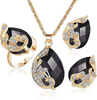 Gbell Clearance! Fashion Crystal Necklace Ring Earrings Wedding Jewelry Sets for Women Lady,Neck Chain Pendant Gifts