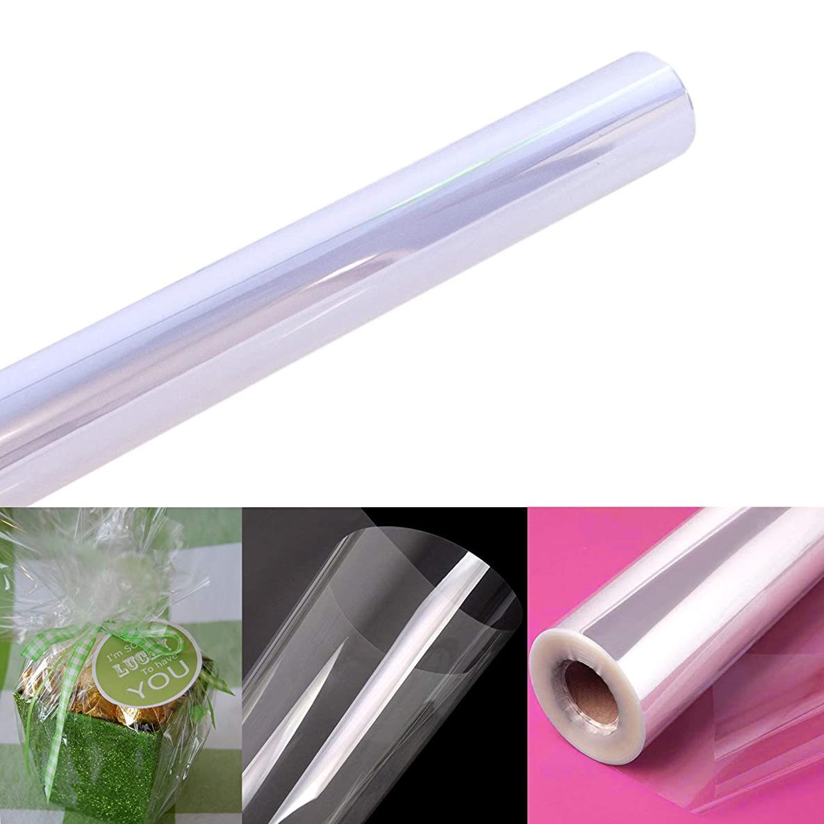"""Clear Cellophane Wrap Roll   100' Ft. Long X 16"""" in. Wide   2.3 Mil Thick Crystal Clear   Gifts, Baskets, Arts & Crafts, Treats, Wrapping   Meets FDA Specifications   by Anapoliz"""