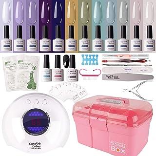 Gel Nail Polish Kit with 36W Lamp - Candy Lover 10ml with Base Top Coat Matte UV/LED Nail Gel Polish Set, Summer Fall Nail...