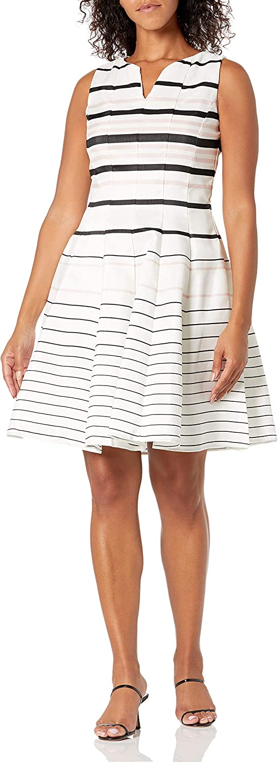 Julian Price reduction Taylor Women's Sleeveless Multi Stripe and Fit Dres Flare Seasonal Wrap Introduction