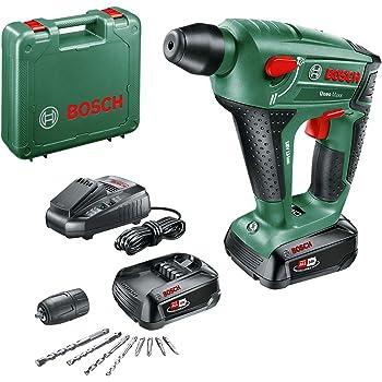 Bosch UneoMaxx - Martillo perforador a batería (2 baterías 18V, cargador, adaptador de vástago redondo, 2 brocas para hormigón SDS-Quick, 2 brocas universales, 4 láminas Bit, maletín): Amazon.es: Bricolaje y herramientas