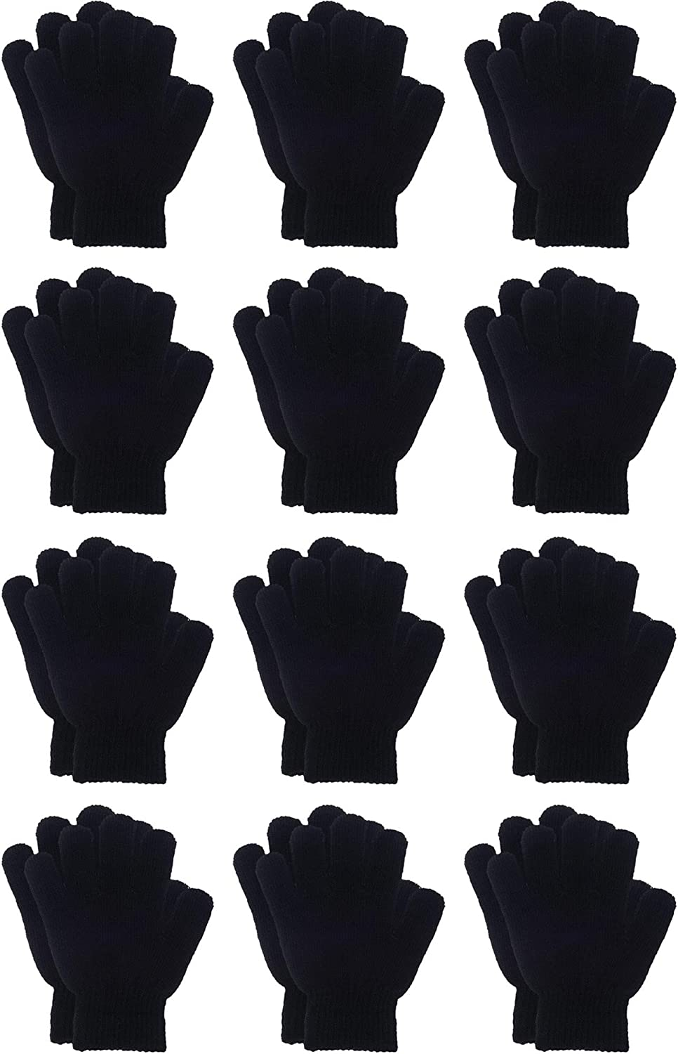 Sumind 12 Pairs Winter Knitted Magic Stretch Gloves Anti-slip Knit Warm Gloves for Children