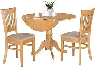 East West Furniture 3-Piece Kitchen Nook Dining Table Set, Oak Finish