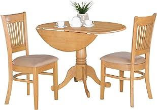 East West Furniture DLVA3-OAK-C 3-Piece Kitchen Nook Dining Table Set, Oak Finish