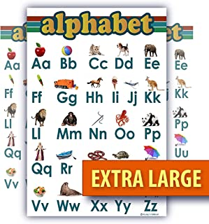ABC alphabet poster EXTRA LARGE teaching Chart Clear White LAMINATED huge and child bedroom poster edu (24x30)