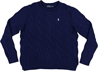 POLO RALPH LAUREN Womens Rolled Crew Neck Cable Knit Sweater (S, Dark Blue)