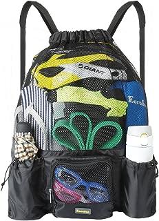 Large Mesh Swimming Bag, Beach Drawstring Backpack, Mesh Mummy Backpack Beach Sports Gear Swim PE Gym Equipment Bag Sackpack Backpack for Men Women Boys Girls and Kids