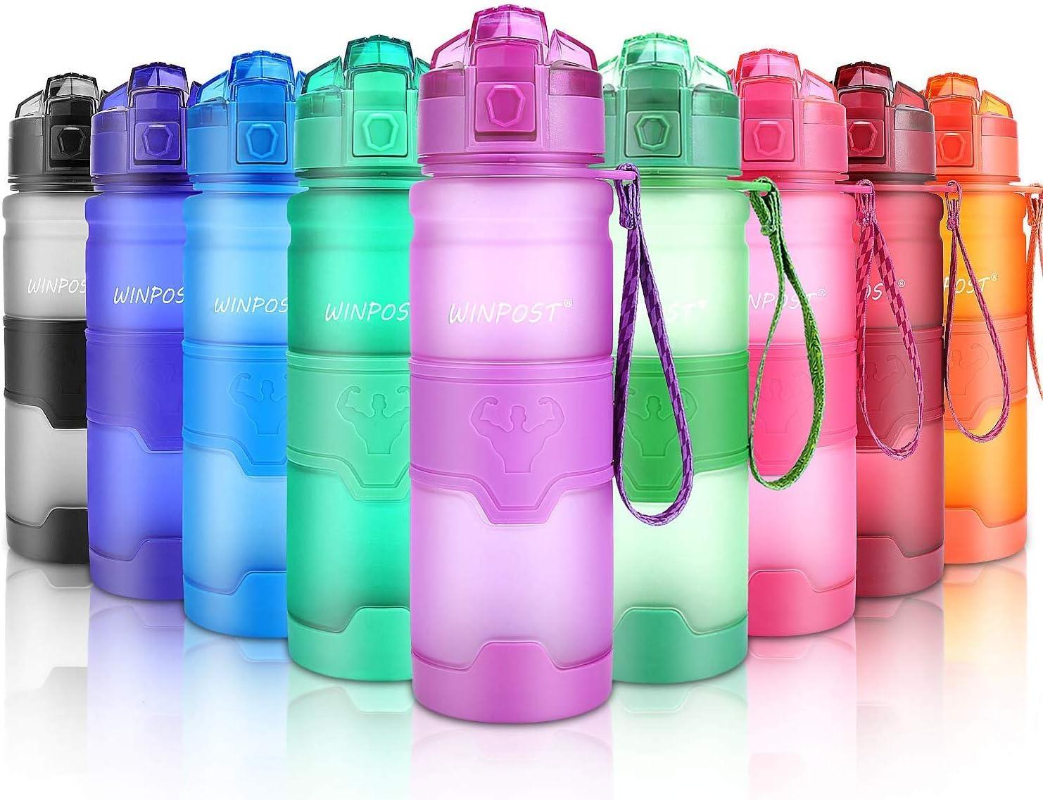 WIN-POST Botella de Agua Deporte 500ml/700ml/1l, sin bpa tritan plastico, Reutilizables a Prueba de Fugas Botellas Potable con Filtro para niños, Colegio, Sport, Gimnasio, Trekking, Bicicleta