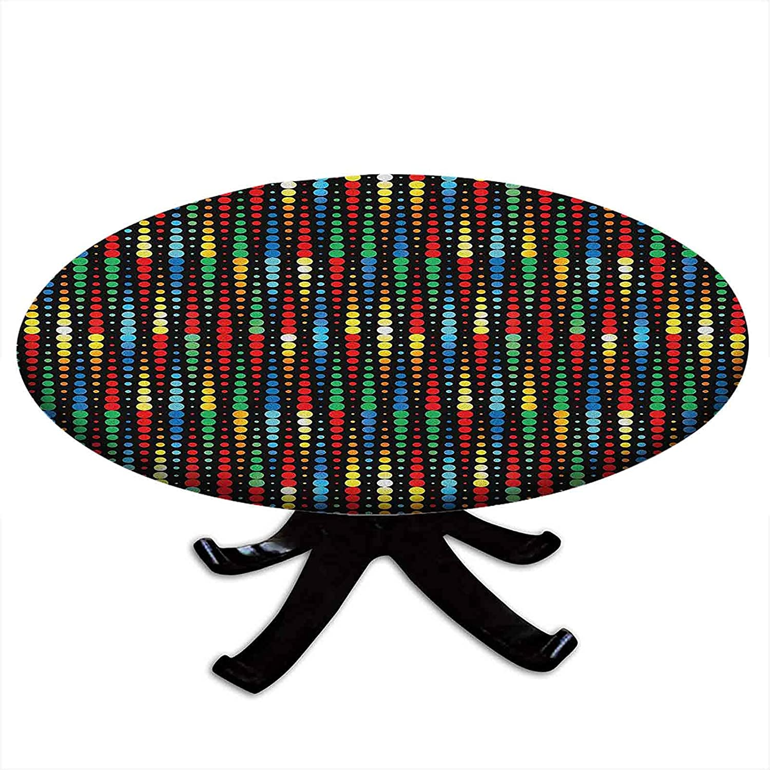 Round Tablecloth with Elastic Edges Dots Geometric Compos Regular discount Polka Popular standard