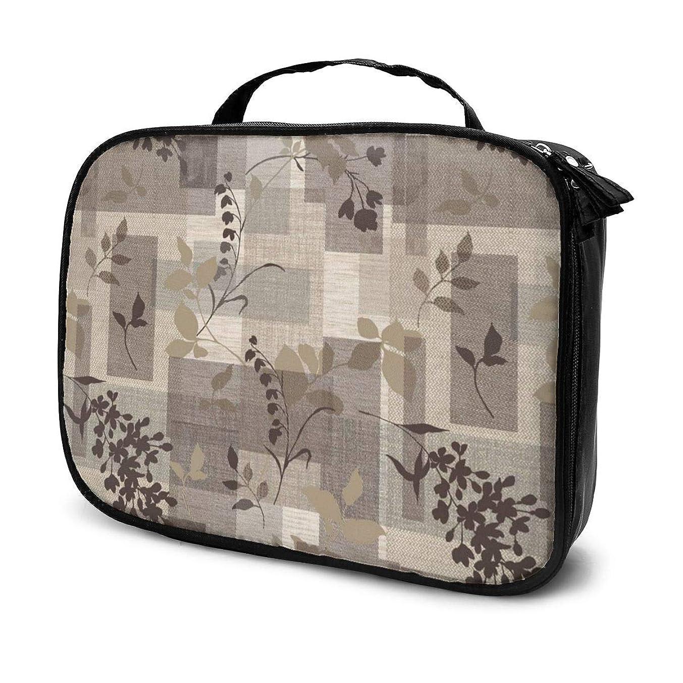乱闘のどために収納袋茶色の花のステッカー化粧品袋耐摩耗性軽量ポータブル高品質大容量旅行ポーチバスルームポーチ旅行小物整理約8×25×19cm