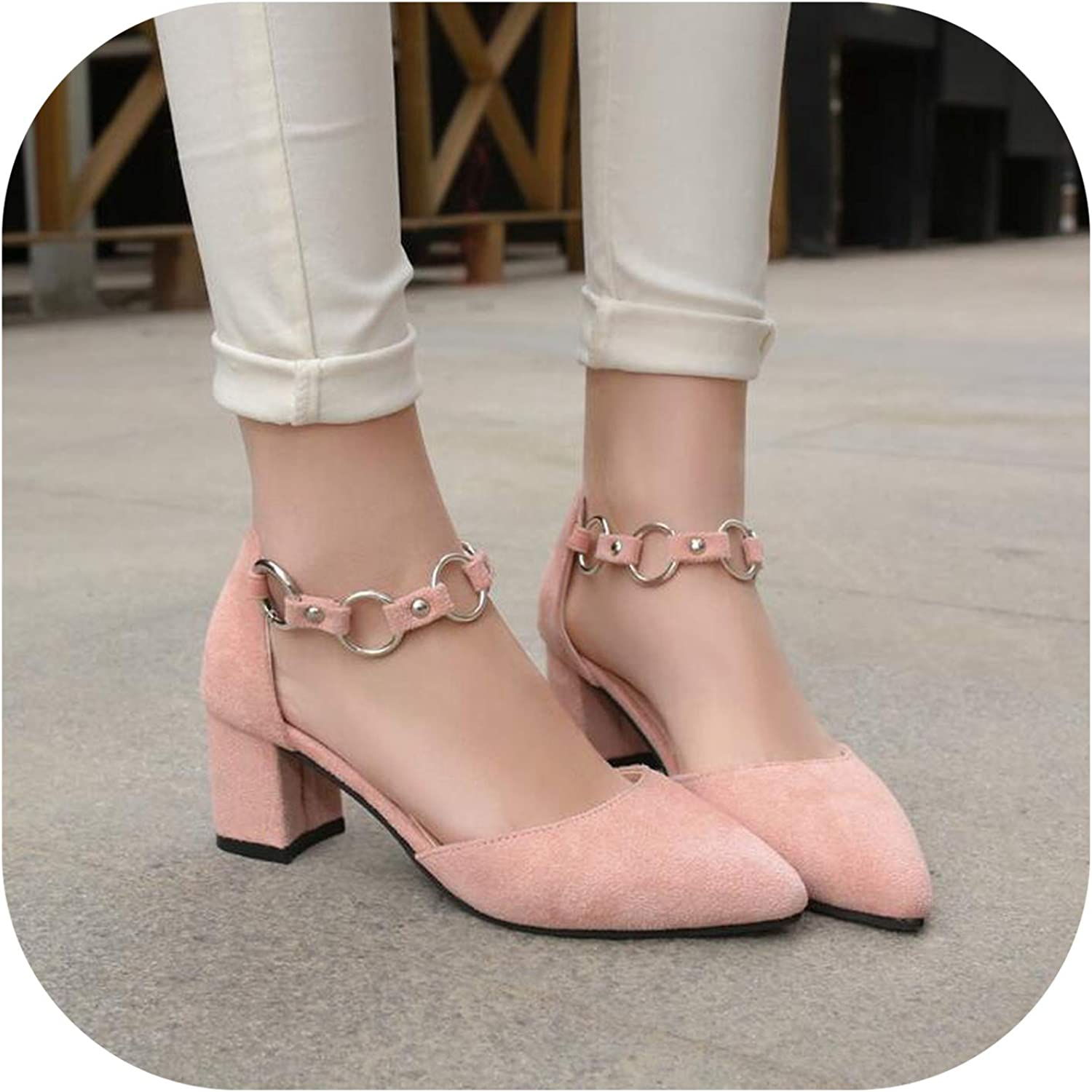 Betterluse Shallow Flats Women Sandals high Heels Women Pointed Toe Metal Summer Women shoes comfty Casual Sandals
