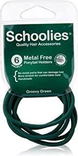 Schoolies Hair Accessories #SC665 Metal Free Ponytail Holders 6 Pieces, Groovy Green