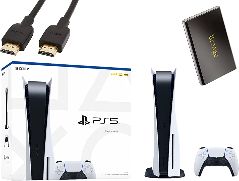 PS5 - Sony Playstation 5 Console Disc Version + Wireless Controller - x86-64-AMD Ryzen Zen 8 Cores, 16GB GDDR6, 825GB SSD, 120Hz 8K Output, HDR 4K TV Gaming - BROAGE HDMI Cable + 320GB External HD
