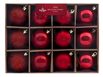Morrisons Red Bauble Tree Decorations, 12 Pack